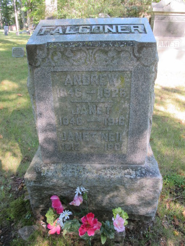 "The tombstone of my great-grandparents, Andrew and Janet Falconer, from Scothland. Photo by Barbara Newhall Barbara Falconer Newhall travels up and down Michigan's lower peninsula, visiting friends and family and putting on book events for ""Wrestling with God."""