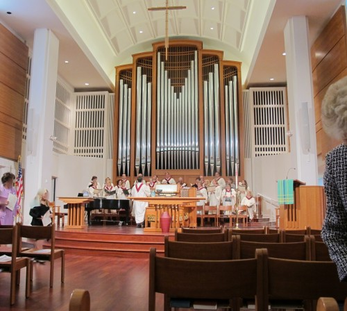 The choir at the First Presbyterian Church of Birmingham, Michigan, practices before a Sunday morning service. Photo by Barbara Newhall