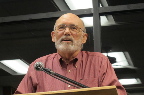 Jack Shoemaker of Counterpoint Press spoke at the Oct. 5 meeting of Left Coast Writers at Book Passage, Marin. Photo by Barbara Newhall.