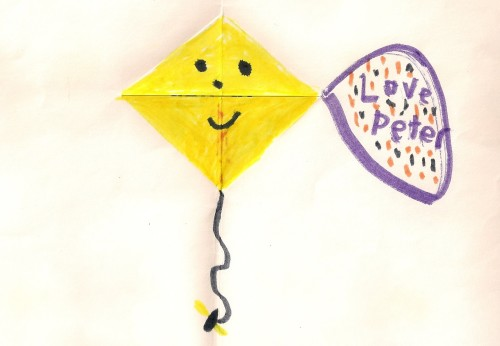 "A greeting card with a kite made for his mother by a 7-year-old boy and signed ""Love Peter."" Photo by Barbara Newhall"