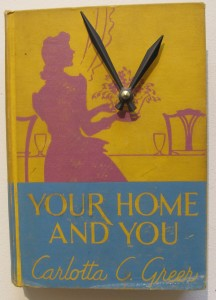 Jim Rosenau. Single book wall clock. $95. Art from vintage books. Berkeley Artisans Holiday Open Studios Dec 2015. Photo by Barbara Newhall