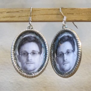 Earrings with photos of Edward Snowden by Fuff. $20 Fuff@fuff.net. Berkeley Artisans Holiday Open Studios Dec. 5, 2015. Artists show and sell their wares.