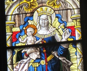 A Madonna and Child in the Cologne Cathedral -- in stained glass. Photo by Barbara Newhall