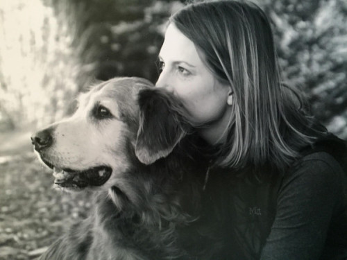 Julie Barton, author of 'Dog Medicine,' with her soul mate dog Bunker, 2007. Photo by Heather Knape, heather Knape.com.