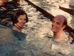 Barbara Falconer and Jon Newhall in a swimming pool circa 1975. Photo by Ruth Newhall