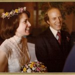 march 6, 1977 jon and barbara newahall greet guests at University Club, San Francisco, a their wedding reception. Photo Peter Luers Studio.
