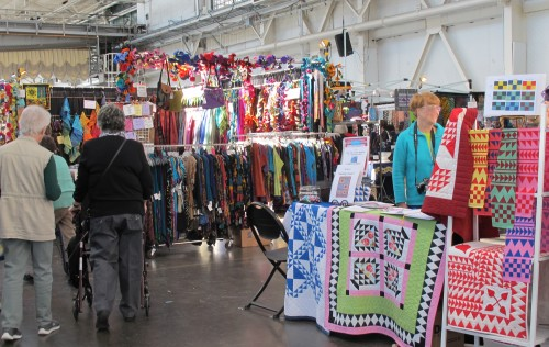 "Quilts and sewing supplies on display at the East Bay Heritgage Quilters show ""Voices in Cloth 2016"" in richmond, CA Photo by Barbara Newhall"