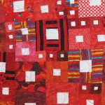 """Displayed at the East Bay Heritage Quilters show """"Voices in Cloth 2016"""" quilt show in Richmond, CA.. a detail of """"Hopscotch,"""" by Susan Fuller. Photo by Barbara Newhall."""