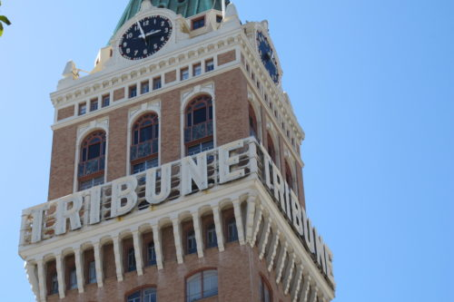 The Oakland Tribune Tower. On April 4, 2016, former employees of the Oakland, California, Tribune, had a wake in honor of the paper's last day of publication. Photos by Barbara Newhall