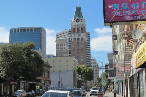 Downtown Oakland, CA, with the Oakland Tribune Tower. On April 4, 2016, former employees of the Oakland, California, Tribune, had a wake in honor of the paper's last day of publication. Photos by Barbara Newhall