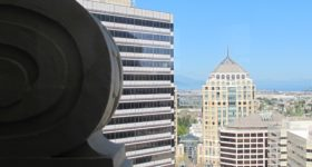 View from the Tower of the Oakland, California, Tribune. The Clorox Building, the Ronald V. Dellums Federal Builing. Photos by Barbara Newhall
