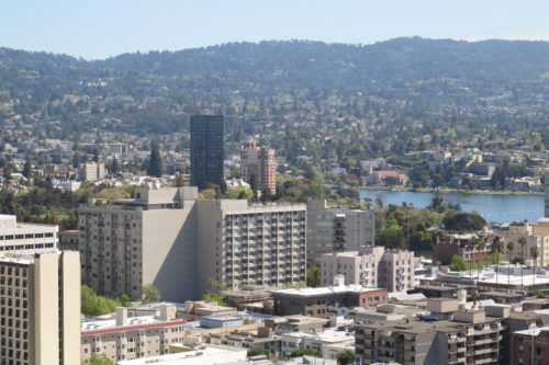 the view from the Oakland Tribune Tower with Lake Merritt and the Oakland Hills. Photos by Barbara Newhall