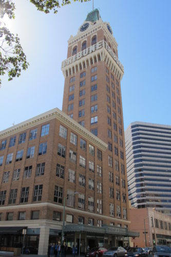 The Oakland Tribune Tower viewed from 13th and Franklin Streets, Oakland, CA. Photos by Barbara Newhall