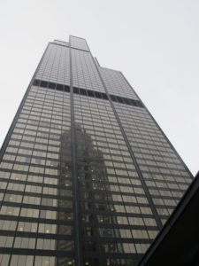 Willis Tower view from the street, Chicago. Photo by Barbara Newhall