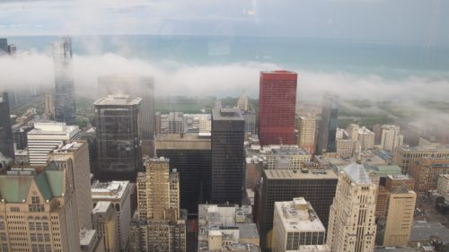 View of Lake Michigan and downtown Chicago from the Willis Tower, Chicago. Photo by Barbara Newhall