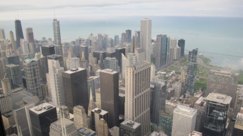 Looking northeast over Lake Michigan and Chicago from Willis Tower. Photo by Barbara Newhall