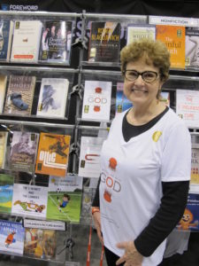 "Barbara Falconer Newhall's prize-winning book ""Wrestling with God,"" got good display at the Foreword Reviews new titles display in the main showroom at Book Expo America 2016. Photo by Jon Newhall"