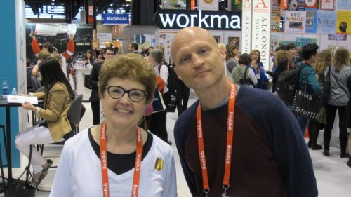 "Barbara Falconer Newhall with Scott Dikkers, editor of ""Trump's America: The Complete Loser's Guide"" at Book Expo America 2016. Photo by Barbara Newhall"