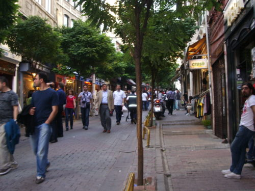 The pedestrian shopping street İstiklal Caddesi in Istanbul. Photo by Barbara Newhall