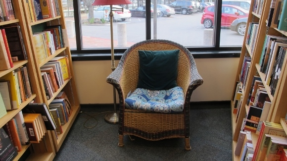 Goodreads book giveaway. Easy chair and bookcases at Book Passage bookstore, Corte Madera. Photo by Barbara Newhall