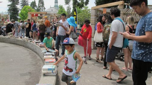 The Bay Area Book Festival was held June 4 & 5, 2016 in the streets and indoor venues of downtown Berkeley, California. The Lacuna sculpture garden and book giveaway.