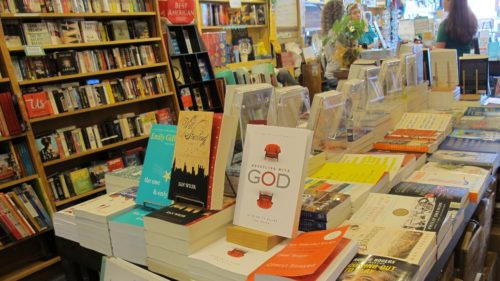 Should authors read reviews of their books? I did. Wrestling with God book on sale at Great Good Place for Books bookstore in Oakland, CA. Photo by Barbara Newhall