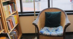 A comfy chair in the spirituality section of Book Passage bookstore. Should authors read their reviews? Photo by Barbara Newhall