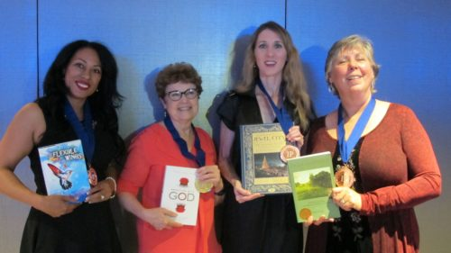 "Book Contests. IPPY winner Veda Stamps (""Flexible Wings,"" IMO Books), barbara Newhall (""Wrestling with God""), Laura A. Ackley (""San Francisco's Jewel City,"" Heyday), Aleta George (""Ina CoolBrith,"" Shifting Plates Press) at IPPY awards 2016. Photo by Jon Newhall"