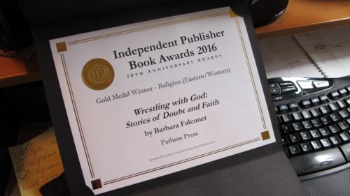 Book contests. An IPPY award certificate on a winning writer's desk. Photo by Barbara Newhall