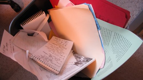 The shame of aging -- a writer has tossed old filed in a wastebasket. the Big Seven-Five. Photo by Barbara Newhall
