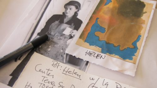 Ceramicist Nancy Selvin's notes for a large pot she has created in honor of painter Helen Frankenthaler. For an upcoming show. Photo by Barbara Newhall