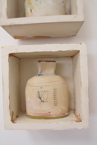Terra cotta jug with pigment by Berkeley ceramicist Nancy Selvin. Photo by Barbara Newhall