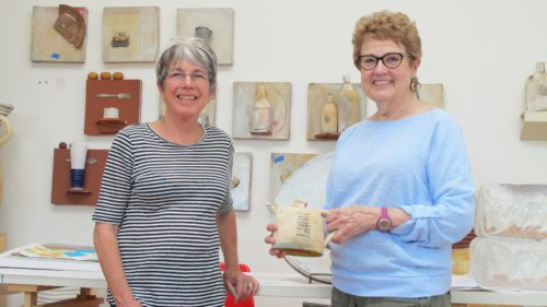 Nancy Selvin and Barbara Falconer Newhallat Nancy's studio with a Selvin tea pot she bought for her birthday. Photo by Barbara Newhall