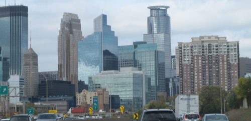 Twin Cities. Minneapolis skyline in October from Highway 35w heading north. Photo by Barbara Newhall