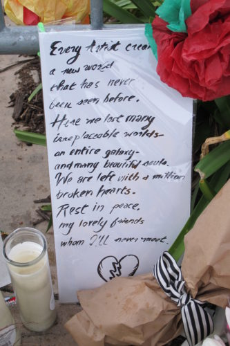 A written tribute to artists left at the scene of the Oakland Ghost Ship fire that killed 36. Photo by Barbara Newhall