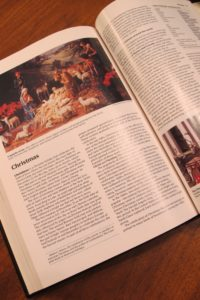 Christmas is big in a 1994 World Book Encyclopedia layout for the holiday. Photo by Barbara Newhall