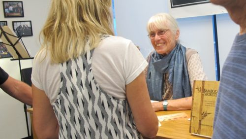"Patricia Dove Miller signs copies of her new book, ""Bamboo Secrets,"" at Book Passage, Marin, June 11, 2016. Photo by Barbara Newhall"