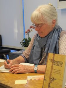 "Patricia Dove Miller and her new book, ""Bamboo Secrets,"" at Book Passage, Marin, June 11, 2016. Photo by Barbara Newhall"