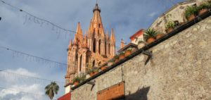 The Parrocchia church spires in San Miguel de Allende, where Christmas is big. Photo by Barbara Newhall