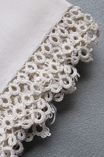 Something old -- tatting by Barbara's great-grandmother, Emma Bishop Loomis. Done some time before her daughter, Ruth Bishop's, wedding in 1898. The pillowcases have no side seams. Only seams at one end. The fabric was apparently loomed as a tube. Photo by Barbara Newhall