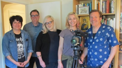 The crew of a documentary about Armistead Maupin crowded into the writing studio of author Barbara Falconer Newhall: assistant Val Castro, sound recordist Mark Whelan, make-up Joel King, director Jennifer Kroot, cinematographer Shane King. Photo by Barbara Newhall