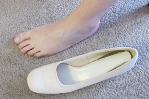 Something old -- the cream colored pumps I wore for my 1977 wedding were too long and too narrow for Christina's foot. Photo by Barbara Newhall