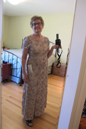 mother-of-the-bride dress. Alex Evenings rosette champagne full length. Photo by Barbara NewhallNewhall