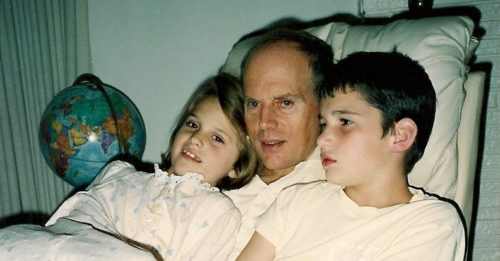 Christina, Jon and Peter. Their mother had gray hairs, bu the kids were still small enough to cuddle. Photo by Barbara Newhall