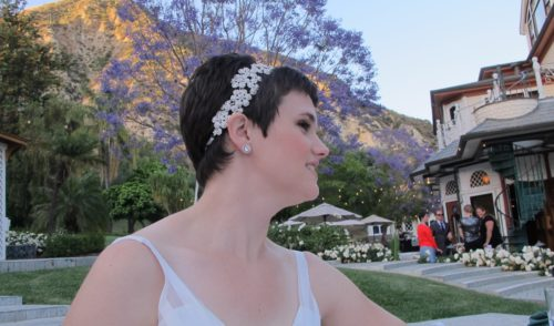 The bride was beautiful. A crystal headpiece set off Christina Newhall's short dark hair on her wedding day in May. Photo by Barbara Newhall