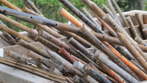 Among the missing blog posts: Metal poles at a construction site to illustrate that BarbaraFalconerNewhall.com will be under construction for a few days. Photo by Barbara Newhall
