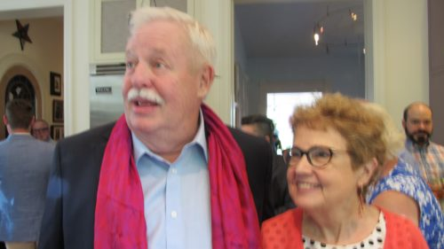 "I was important at the cast party for ""The Untold Tales of Armistead Maupin, San Francisco, June 15, 2017. Armistead Maupin and Barbara Falconer Newhall. Photo by Jon Newhall"