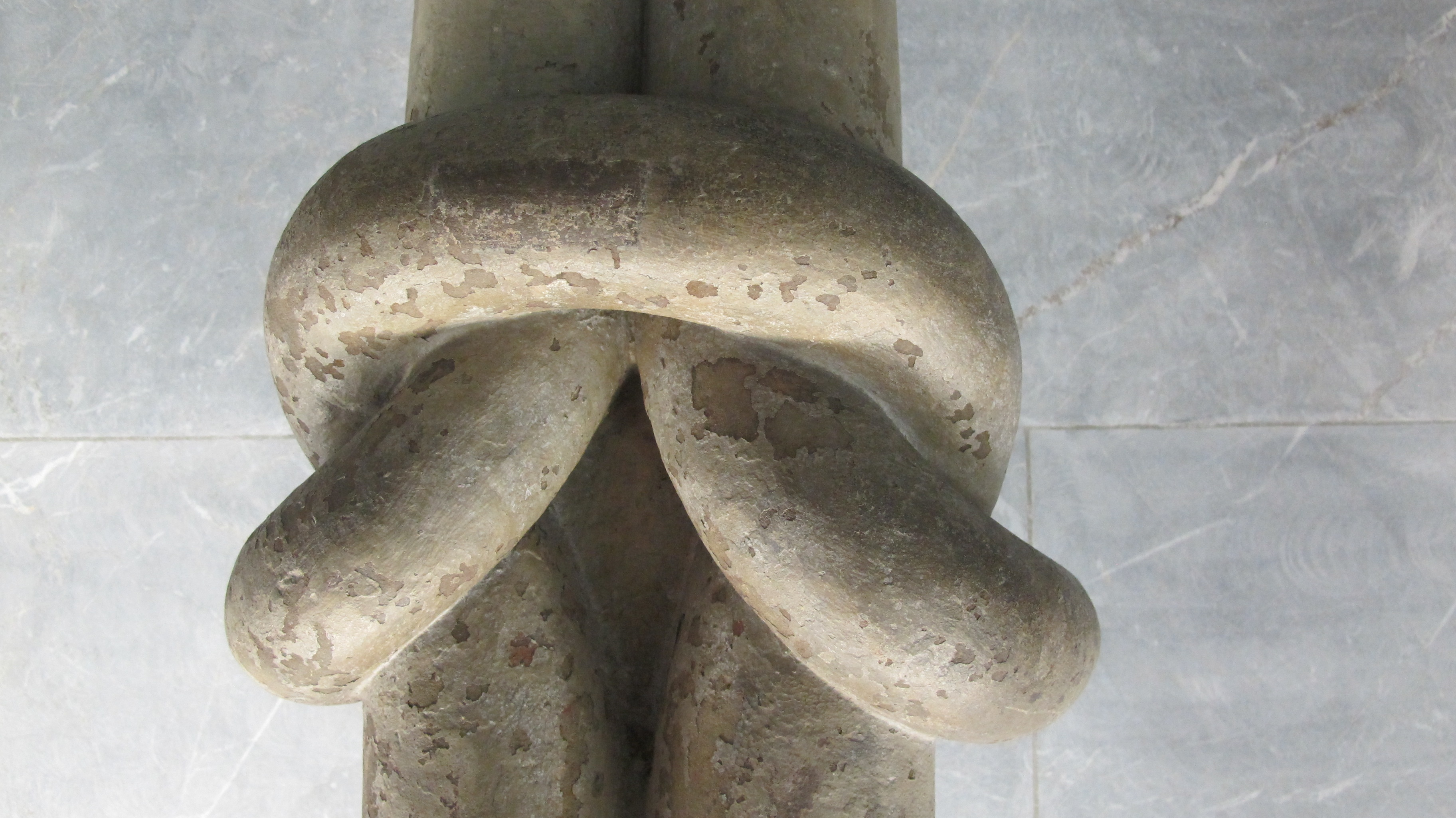 A dream about wrestling. Detail of a column in the Wurzburg Cathedral, shaped in a knot. Photo by Barbara Newhall