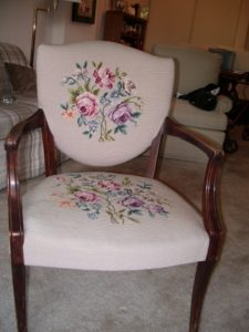 Sde chair with pink floral needlepoint. My Mother's Stuff. Photo by BF Newhall