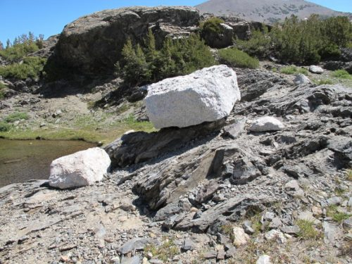 Glacial erratics piled on a sloping rock at Inyo National Forest, CA. Photo by BF Newhal